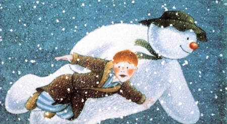A picture of The Snowman and the boy flying.