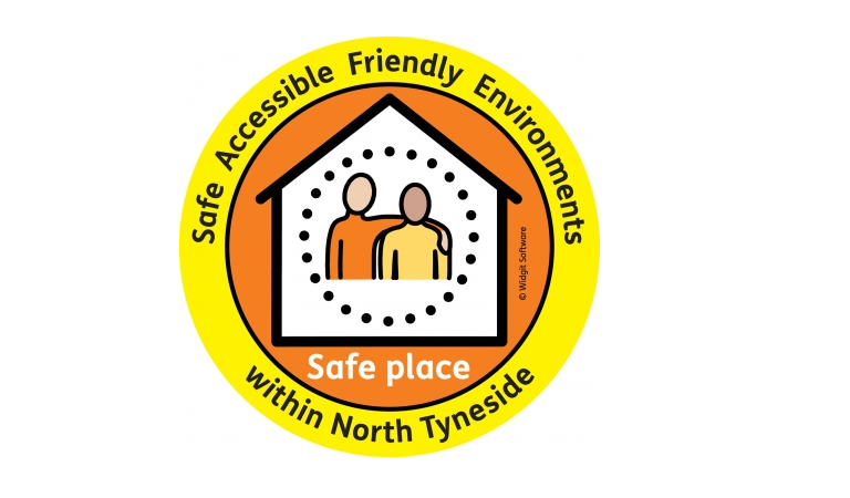 """If you see this logo presented in a North Tyneside organisation, it is a certified """"Safe Place""""."""