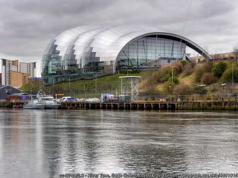View of Sage Gateshead by the River Tyne.